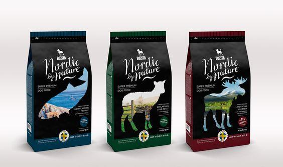 Упаковка корма для собак с изображением животных